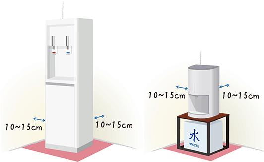 卓上と床置きの設置スペースのイラスト