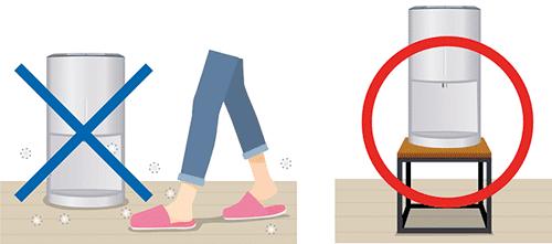 卓上ウォーターサーバーは床に直接置くと衛生的によくない