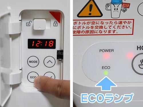 設定パネルのECOボタン