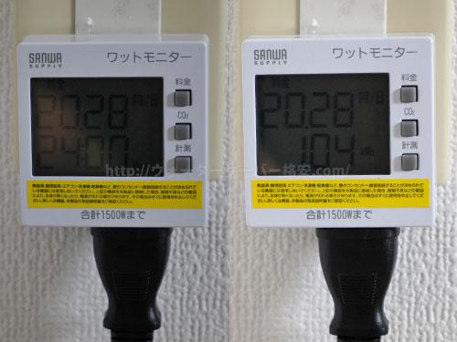 プレミアムウォーター「アマダナサーバー」の電気代を計測結果