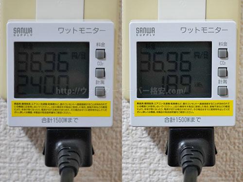 アクアクララ アクアスリムの電気代を計測結果