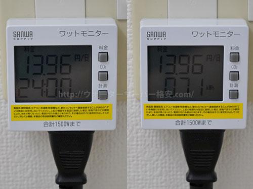 プレミアムウォーター カドーの電気代を計測結果