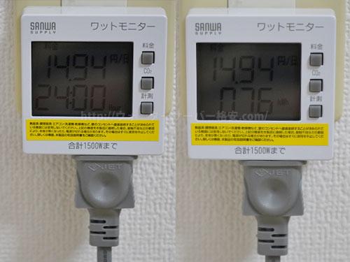 フレシャス デュオの電気代を計測結果