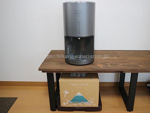 デュオミニの下に水ボックスを置いてスペースを有効活用した写真