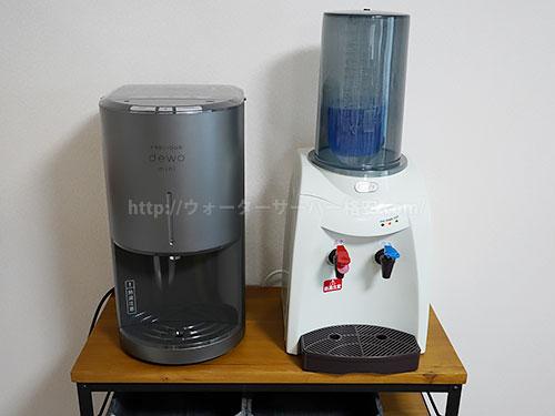 Toffyのペットボトル専用ウォーターサーバーとデュオミニを並べた写真