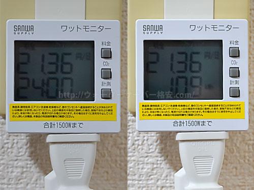 Toffyペットボトル専用ウォーターサーバーを使用した電気代計測機の画面