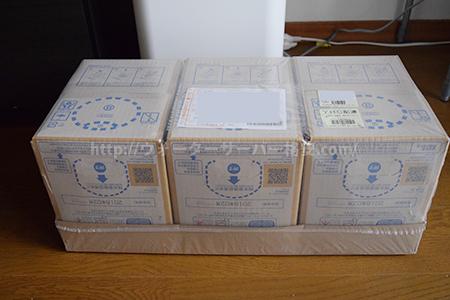 サントリーの南アルプスの天然水サーバーの天然水ボックス3箱