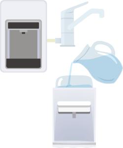 水道水ウォーターサーバーのイラスト(ピュレスト、ハミングウォーターflows)