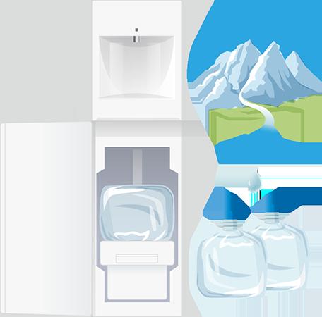 宅配水ウォーターサーバーのイラスト(フレシャスのスラット)