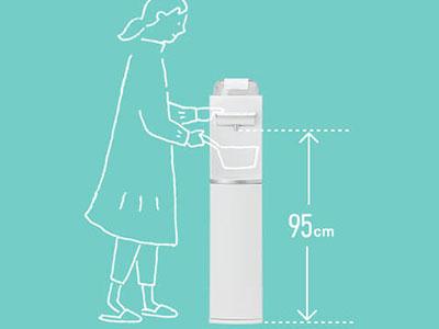 ハミングウォーター「flows」楽な姿勢で操作できる給水口