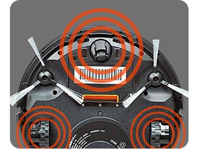 ワンウェイウォーター「スタイリッシュサーバーお掃除ロボットAcro付き」Acro高さ7㎝以上の段差を検知する落下防止センサー