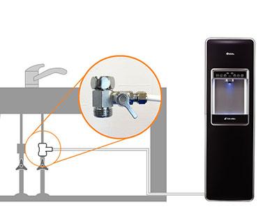 楽水ウォーターサーバー「ピュレスト」の水道直結の説明図