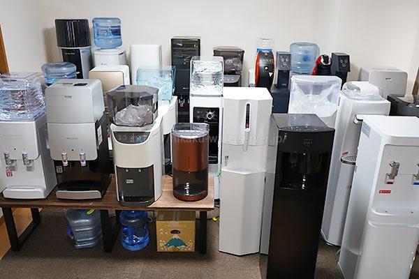 各メーカーのウォーターサーバーを実際に並べた写真